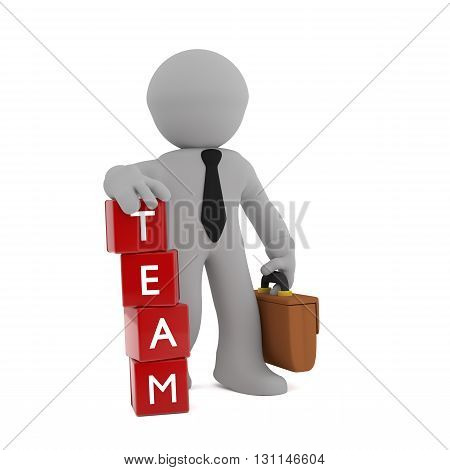 3d businessman with stacked red cubes and the word TEAM on it
