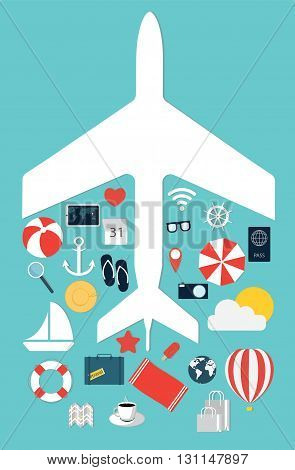 Flat illustration icons set traveling on airplane. Vector illustration