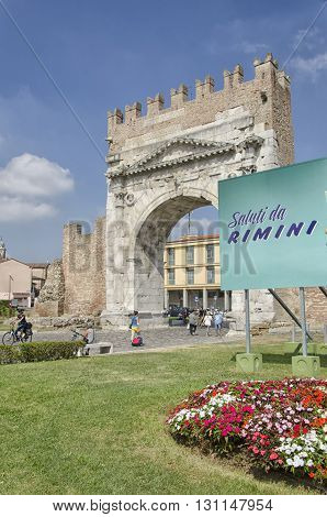 Rimini, Italy - August 3, 2015: View of the famous Arch of Augustus