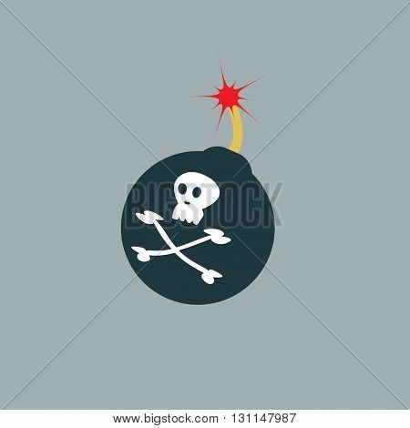 Bomb ready to explode with fuse and Jolly Roger sign. Vector flat icon of bomb