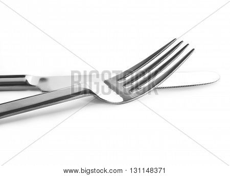 Knife and fork, isolated on white background
