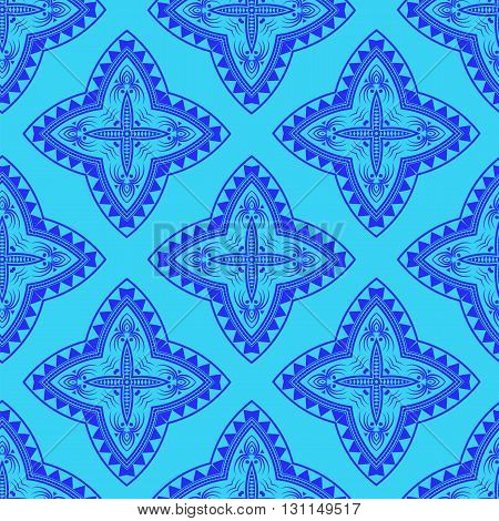 Texture on Blue . Element for Design. Ornamental Backdrop. Pattern Fill. Ornate Floral Decor for Wallpaper. Traditional Decor on Background