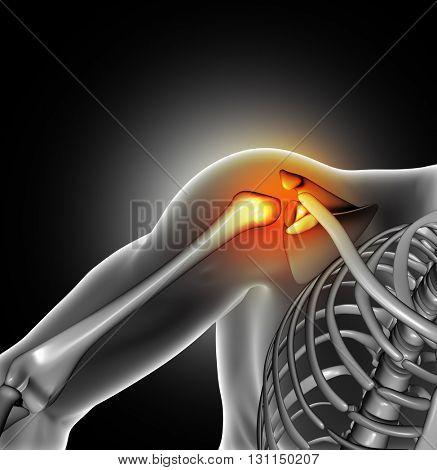 3D render of a medical image of close up of bone in shoulder