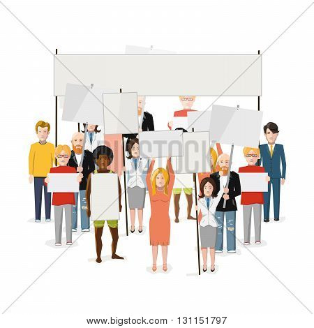 Riot demonstration crowd of people with empty posters with place for text flat illustration isolated on white