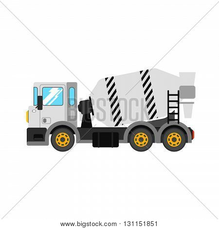 Construction Cement Mixer Truck. Building Concrete Mixer Car. Delivery Concrete To Construction. Con