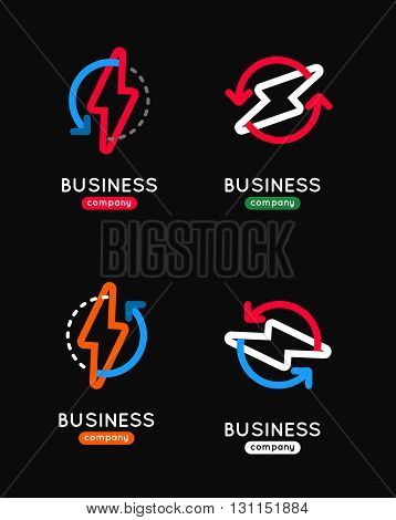 Thunderbolt Vector Icon Set. Thunderbolt Business Logo. Thunderbolt Company Icon. Thunderbolt Outlin