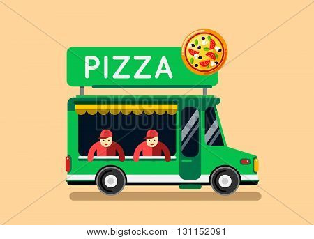 Pizza Food Truck City Car. Food Truck, Auto Cafe, Mobile Kitchen, Hot Fastfood, Italian Pizza. Desig