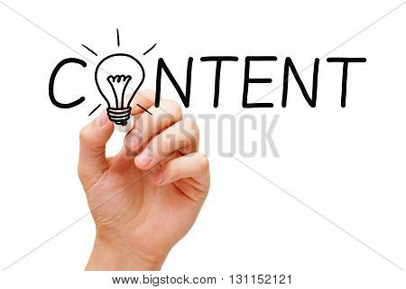 Hand writing Content creativity light bulb concept with marker on transparent wipe board.
