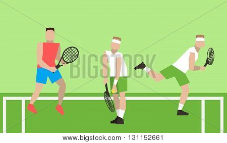Professional Tennis Players On The Tennis Court. Strokes With A Tennis Racket. Tennis Players Play T