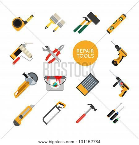 Home Repair Tools Vector Icons. Working Repair Tools For Repair And Construction. Hand Drill, Saw, L