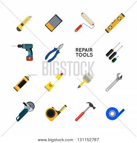 Construction Equipment Vector Set. Working Tools For Repair And Construction. Hand Drill, Saw, Level