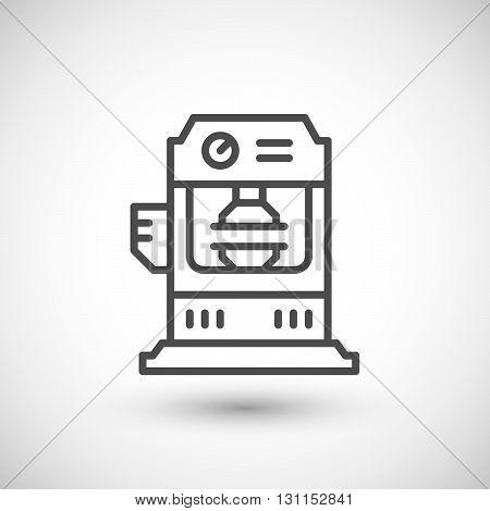 Hydraulic press machine line icon isolated on grey. Vector illustration