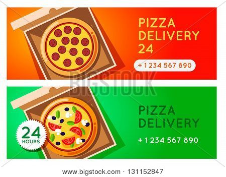 Pizza Delivery Vector Background. Pizza 24 Hours. Pizza With Pizza Box. Hot Fast Food Pizza Delivery