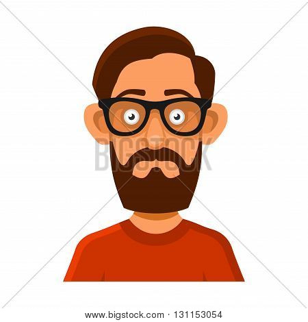 Hipster Man in Glasses Avatar Profile Userpic on White Background. Vector illustration