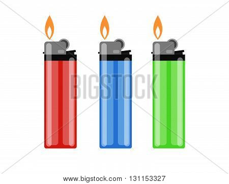 Сigarette Lighter Vector Illustration. Cigarette Lighter Icon Set. Cigarette Lighter Flame. Light A