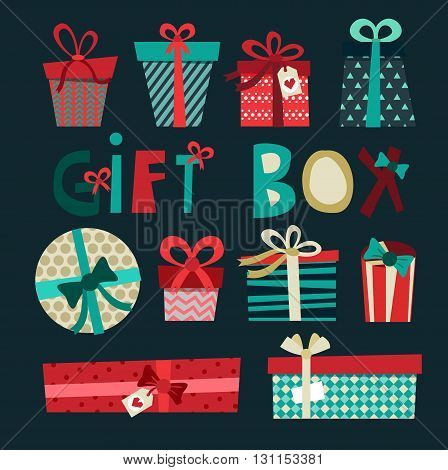 Colorful Gift Boxes With Bows And Ribbons Vector Set. Gift Boxes Vector Illustration. Set Of Vector
