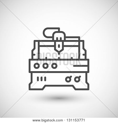Cnc milling machine line icon isolated on grey. Vector illustration
