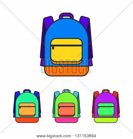 School Bag Vector Illustration. Colorful School Bag Vector Icon. School Bag For Student. Trend Lines