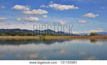 Idyllic spring scene at Lake Pfaffikon. Landscape in Zurich Canton Switzerland.