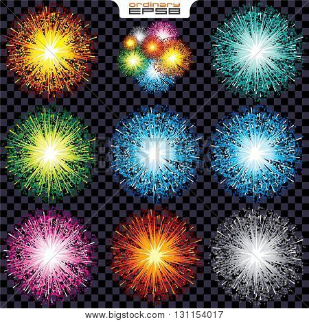Set Sparks and Fireworks. Isolated Vector Design Elements