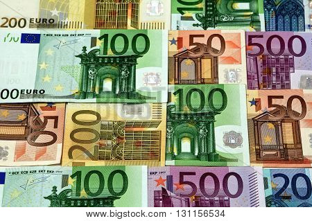 Different Euro Bills 500 200 100 50 Euro Banknotes Lying On A Table.