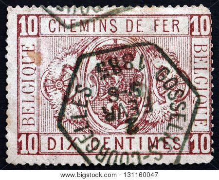 BELGIUM - CIRCA 1879: a stamp printed in the Belgium shows Coat of Arms Parcel Post Stamp circa 1879