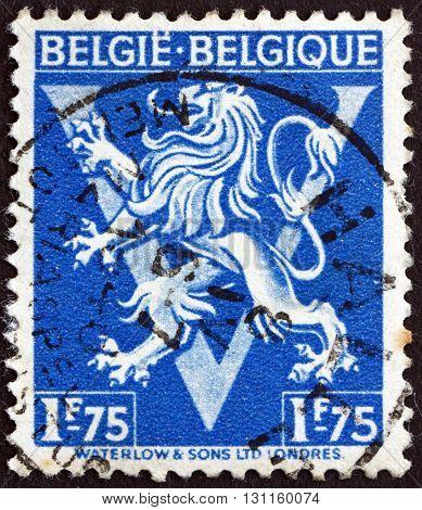BELGIUM - CIRCA 1944: a stamp printed in the Belgium shows Lion Rampant circa 1944