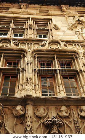 Valence France - april 13 2016 : the picturesque renaissance Maison des Tetes
