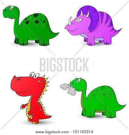 dino set icon 4 vector illustration dinosaur