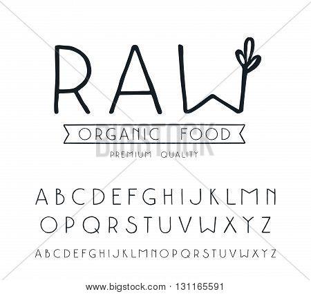 Sanserif font with hand-drawn soft shape. Raw vegan label. Isolated on white background