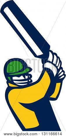 Illustration of a cricket player batsman with bat batting viewed from front set on isolated white background done in retro style.