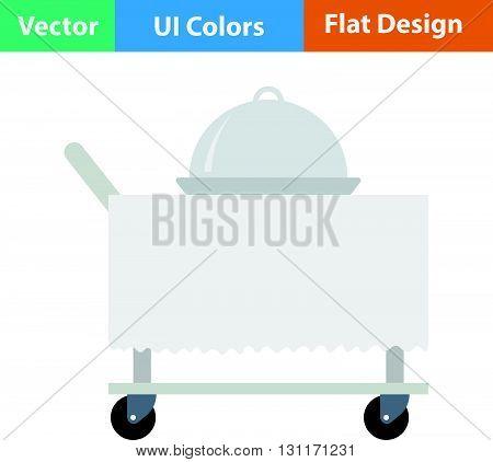 Restaurant cloche on delivering cart icon. Vector illustration.