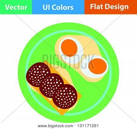 Omlet and sandwich icon. Vector illustration. Flat design ui.