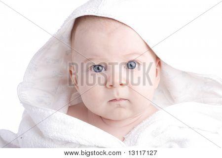 BEAUTIFUL BABY. SHOT IN STUDIO. ISOLATED ON WHITE.