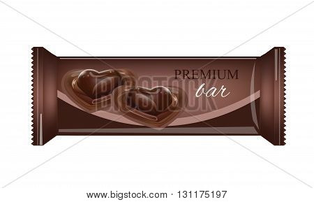 Vector Food Packaging For Biscuit Wafer Crackers Sweets Chocolate Bar Candy Bar Snacks . Chocolate bar Design Isolated On White Background. Food Wrapper.