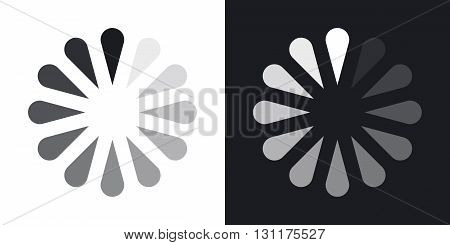 Vector progress loader icon. Two-tone version on black and white background