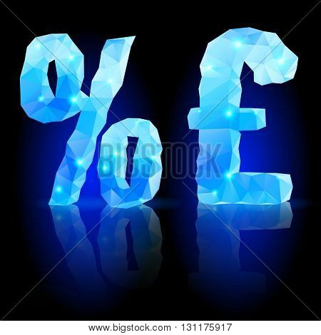 Shiny blue polygonal font. Crystal style per cent and pound sterling signs with reflection on black backround