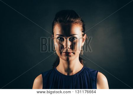 Clear obscure portrait of a young woman.