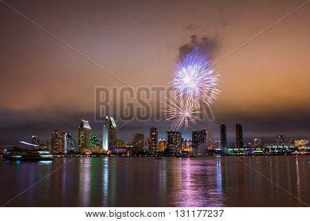 4th of July Fireworks over San Diego skyline. Long exposure night capture.