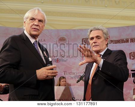 Moscow, Russia - May, 23, 2016: ambassador of Italy in Russia Cesare Maria Ragaglini and director of the La Scala Aleksander Pereira on the press conference devoted to La Scala  Moscow tours.
