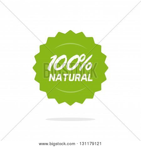 100 percent natural vector green label isolated on white background 100 percent natural sticker symbol rosette design