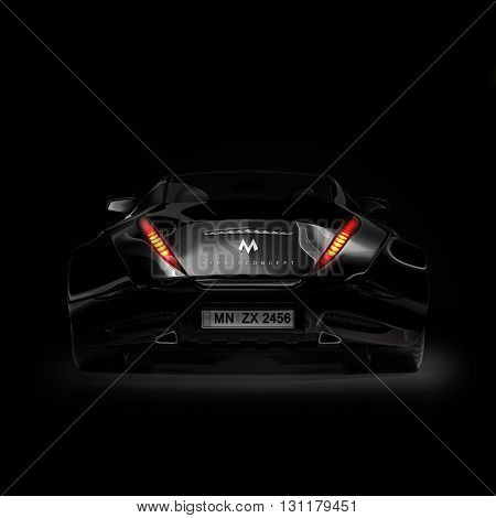 Black sports car. Original car design. 3D illustration.