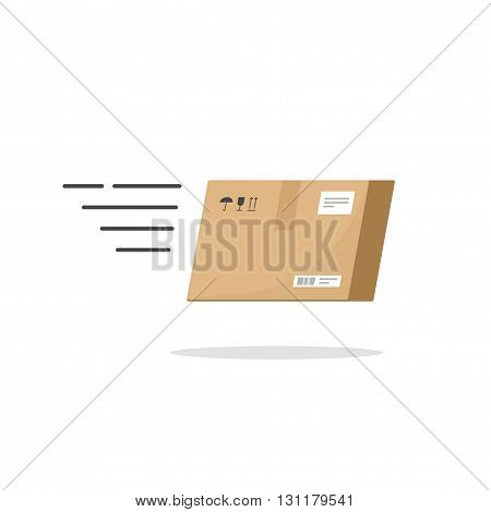 Fast delivery service vector icon isolated on white background speed delivery box flying fast logo black and white flat outline linear style delivery package concept