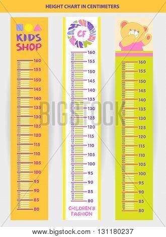 Vector Illustration Stadiometer For Children, Measuring In Centi