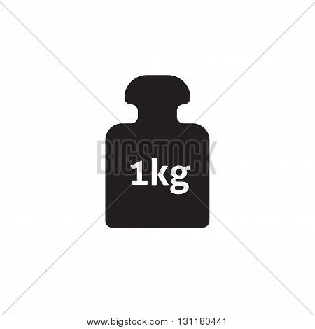 Weight 1 kg vector icon isolated on white 1 kilogram dumbbell black pictogram one kg weight flat cartoon illustration design