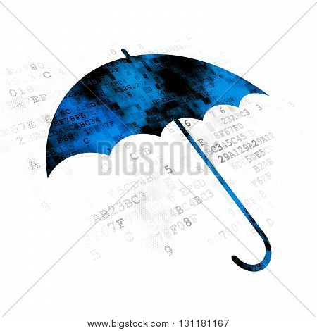 Security concept: Pixelated blue Umbrella icon on Digital background