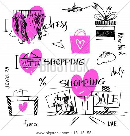 Vector set of hand-drawn for sale shopping and travel. Illustration i love shopping discount present tour.