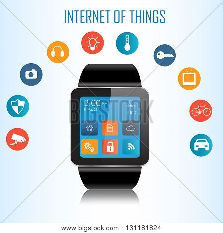 Smartwatch and Internet of things (IoT) icons connecting together. Internet networking concept.Internet of things.Smart watch and smart home devices icons.