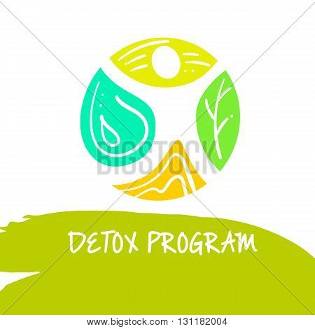 Vector logo detox program diet and holistic nutrition on white background. Hand-drawn illustration for fresh health food and drinks in cafe restaurant.