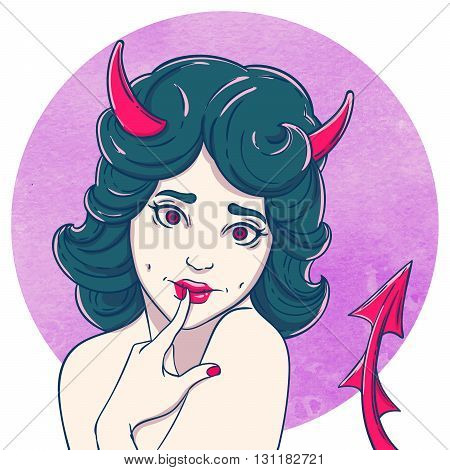 Portrait of curly young beautiful girl. Demon girl with horns and tail. Halloween Flirty